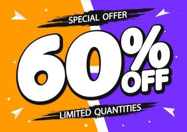 Sale 60% off, poster design template, discount banner, special offer, vector illustration
