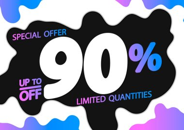 Sale up to 90% off, poster design template, discount banner, special offer, vector illustration