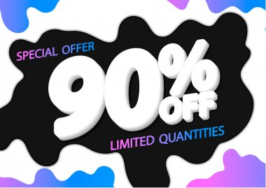 Sale 90% off, poster design template, discount banner, special offer, vector illustration