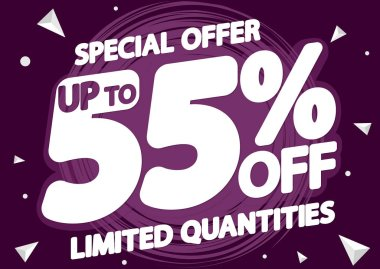 Sale up to 55% off, poster design template, discount banner, special offer, vector illustration
