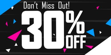 Sale 30% off, poster design template, don't miss out, vector illustration