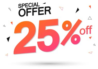 Sale 25% off, poster design template, special offer, vector illustration
