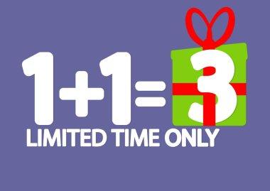 Buy 2 Get 1 Free, Sale poster design template, holiday offer, vector illustration