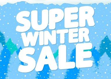 Super Winter Sale, poster design template, vector illustration