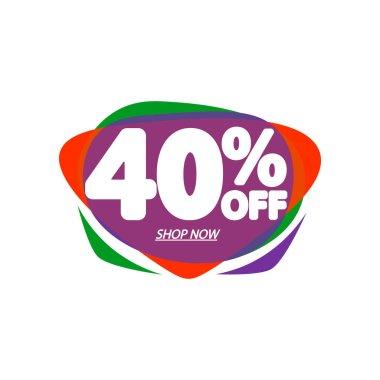 Sale 40% off, bubble banner design template, discount tag, vector illustration