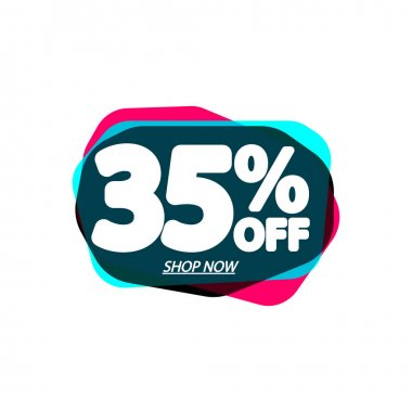 Sale 35% off, bubble banner design template, discount tag, vector illustration