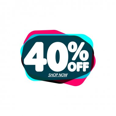 Sale 40% off, bubble banner design template, discount tag, vector illustration