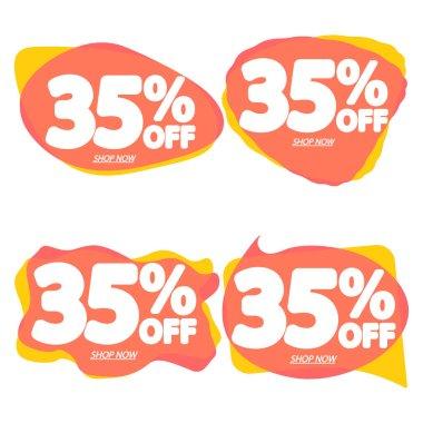 Set Sale 35% off, bubble banners design template, discount tags, vector illustration