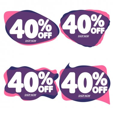 Set Sale 40% off, bubble banners design template, discount tags, vector illustration