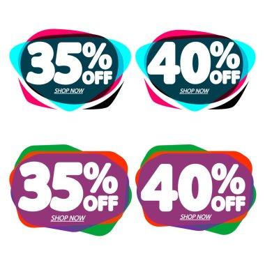 Set Sale bubble banners design template, discount tags, vector illustration