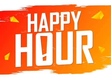 Happy Hour, poster design template, sale banner, vector illustration