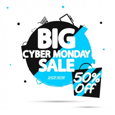 Big Cyber Monday Sale 50% off, banner design template, discount tag, grunge brush, vector illustration