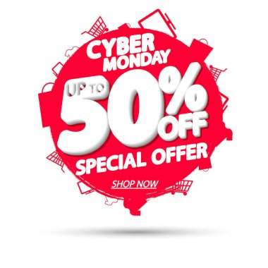 Cyber Monday Sale, up to 50% off, banner design template, discount tag, grunge brush, special offer, vector illustration