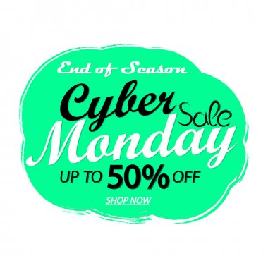 Cyber Monday Sale, up to 50% off, banner design template, discount tag, grunge brush, end of season, vector illustration