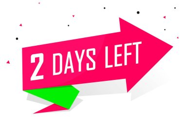 2 Days Left for Sale, countdown tag, start offer, discount banner design template, dapp icon, vector illustration