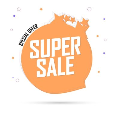 Super Sale, special offer, promotion tag design template, discount speech bubble banner, vector illustration