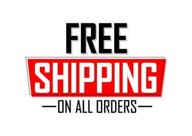 Free Shipping, banner design template, sale tag, on all orders, vector illustration