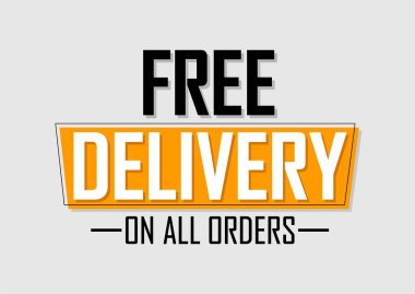 Free Delivery, banner design template, sale tag, on all orders, vector illustration