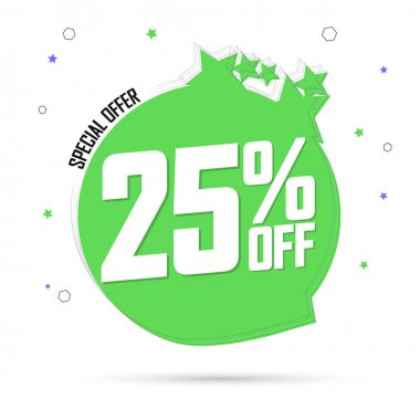 Sale 25% off tag, special offer, speech bubble banner design template, discount tag,app icon, vector illustration