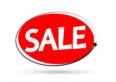 Sale tag design template, discount banner, vector illustration