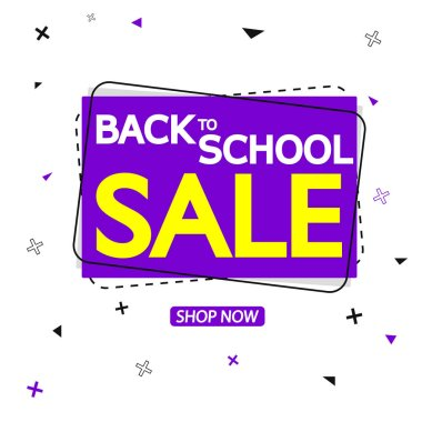 Back to School Sale tag design template, discount banner, vector illustration