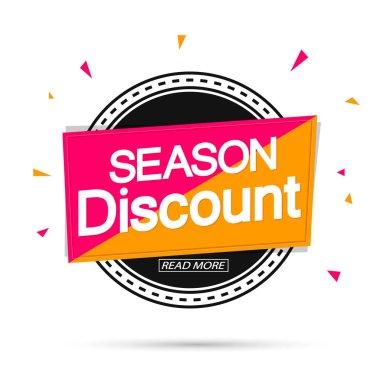 Season Discount, banner design template, sale tag, vector illustration