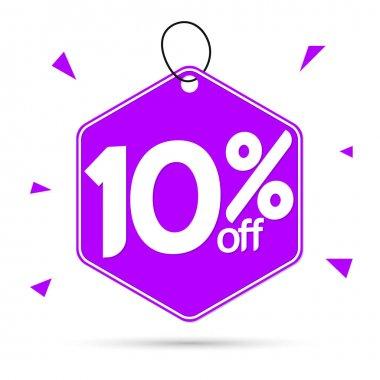 Sale 10% off tag, discount banner design template, vector illustration