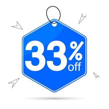 Sale 33% off tag, discount banner design template, vector illustration