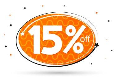 Sale 15% off tag, discount banner design template, vector illustration