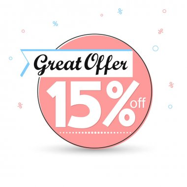 Sale 15% off tag, discount banner design template, great offer, vector illustration