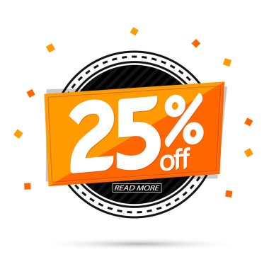 Sale 25% off tag, discount banner design template, vector illustration
