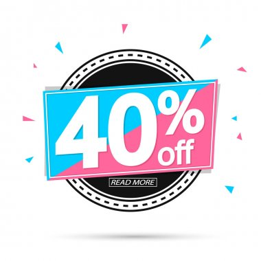 Sale 40% off tag, discount banner design template, vector illustration
