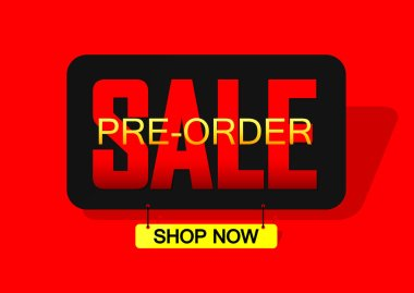 Pre-Order Sale banner design template, discount tag, vector illustration