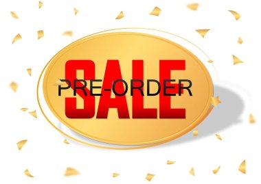 Pre-Order Sale banner design template, discount tag, vector illustration