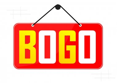BOGO, Sale banner design template, buy 1 get 1 free, great offer, discount tag, app icon, vector illustration
