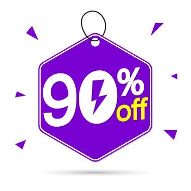 Flash Sale 90% off, banner design template, discount tag, vector illustration
