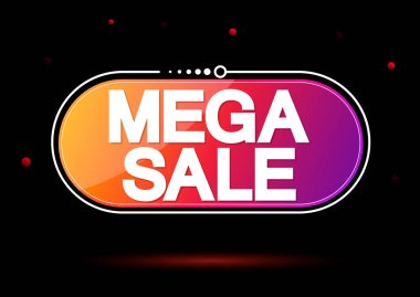 Mega Sale tag design template, discount banner, vector illustration