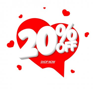 Valentines Day Sale 20% off tag, speech bubble banner design template, discount tag, vector illustration