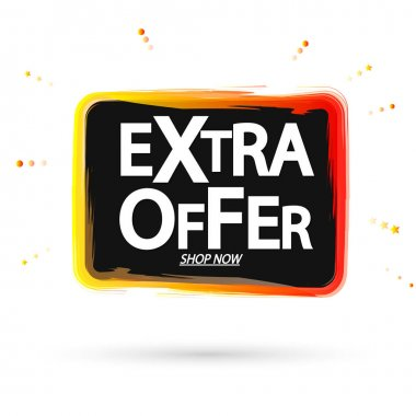 Extra Offer, sale tag design template, discount banner, vector illustration