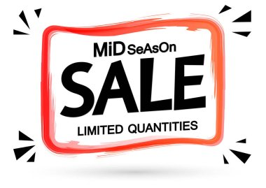 Mid Season Sale tag design template, discount banner, vector illustration