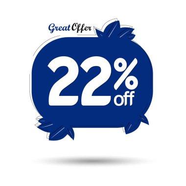 Sale 22% off, discount banner design template, promo tag, vector illustration