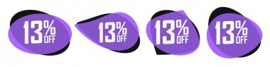 Set Sale 13% off bubble banners, discount tags design template, vector illustration