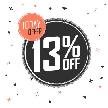 Sale 13% off, discount banner design template, promo tag, today offer, vector illustration