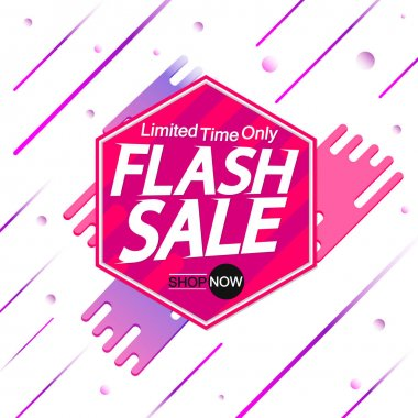 Flash Sale, banner design template, discount tag, promotion app icon, vector illustration