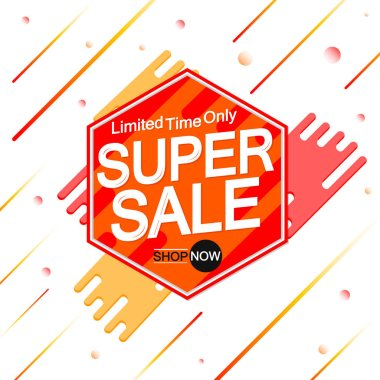 Super Sale, banner design template, discount tag, promotion app icon, vector illustration