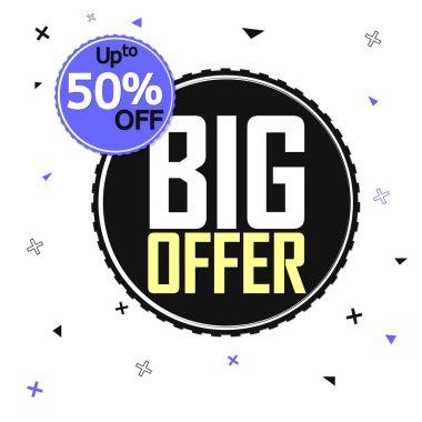 Big Offer, Sale 50% off, banner design template, discount tag, vector illustration