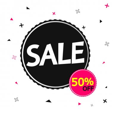 Sale 50% off, banner design template, discount tag, vector illustration