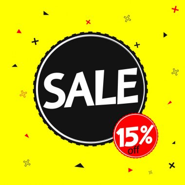 Sale 15% off, banner design template, discount tag, vector illustration