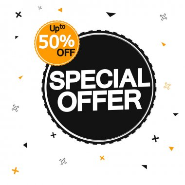 Special Offer, Sale 50% off, banner design template, discount tag, vector illustration