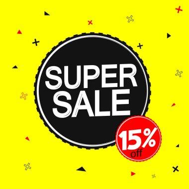 Super Sale 15% off, banner design template, discount tag, vector illustration